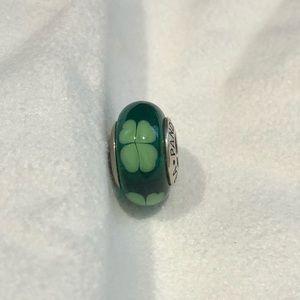 Discontinued Pandora murano glass clover charm